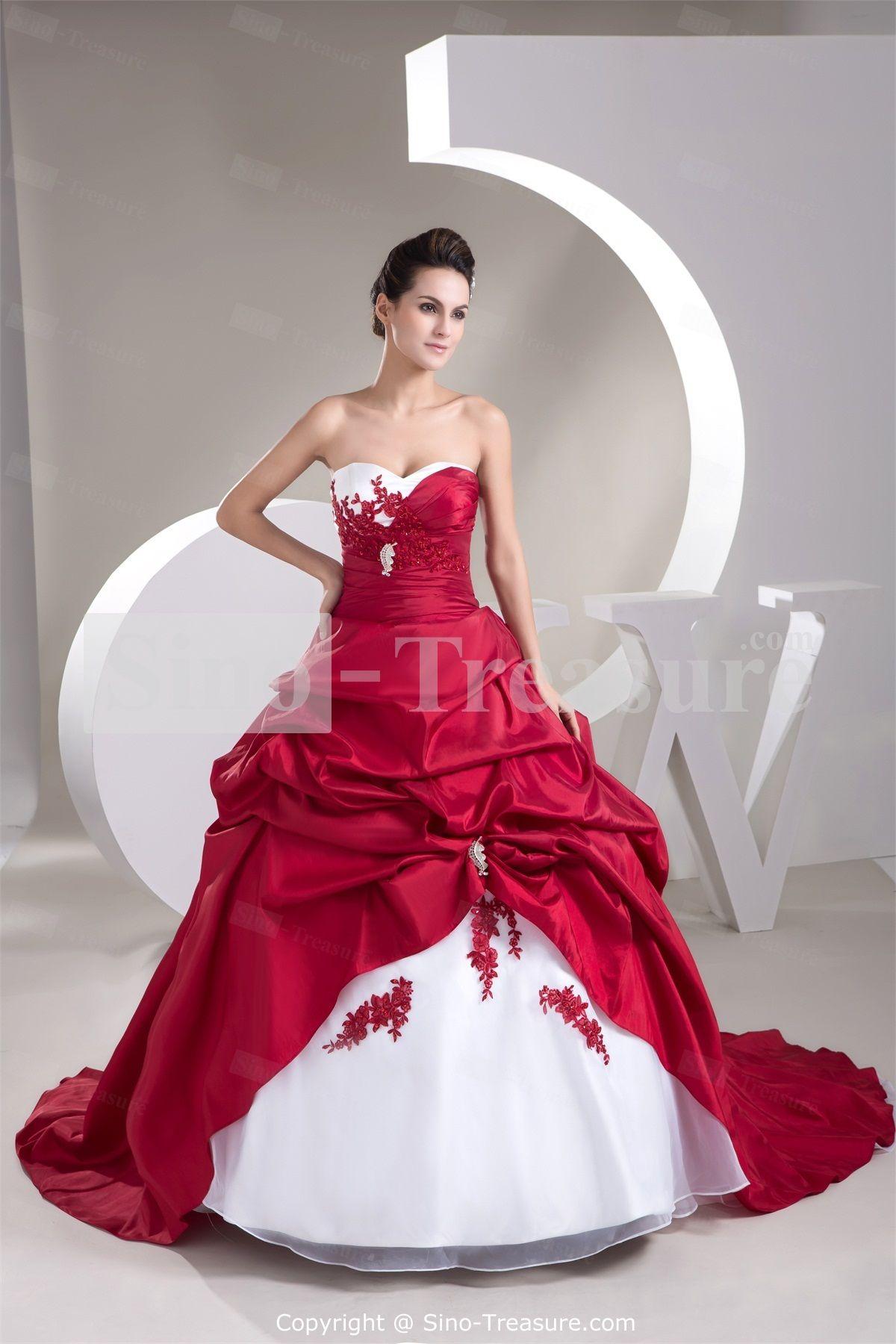 Red Sleeveless Red/White Apple Brush/ Sweep Train Prom Dress ...