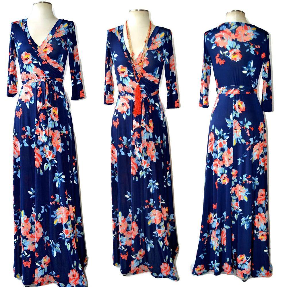 JANETTE - The FAMOUS NAVY FLORAL PRINT Boho Maxi Wrap Dress Coral ...