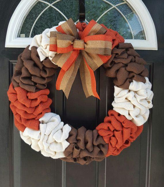 Photo of Autumn wreath, autumn decor, burlap wreath, Thanksgiving wreath, harvest wreath, orange wreath, front door wreath, autumn wreath