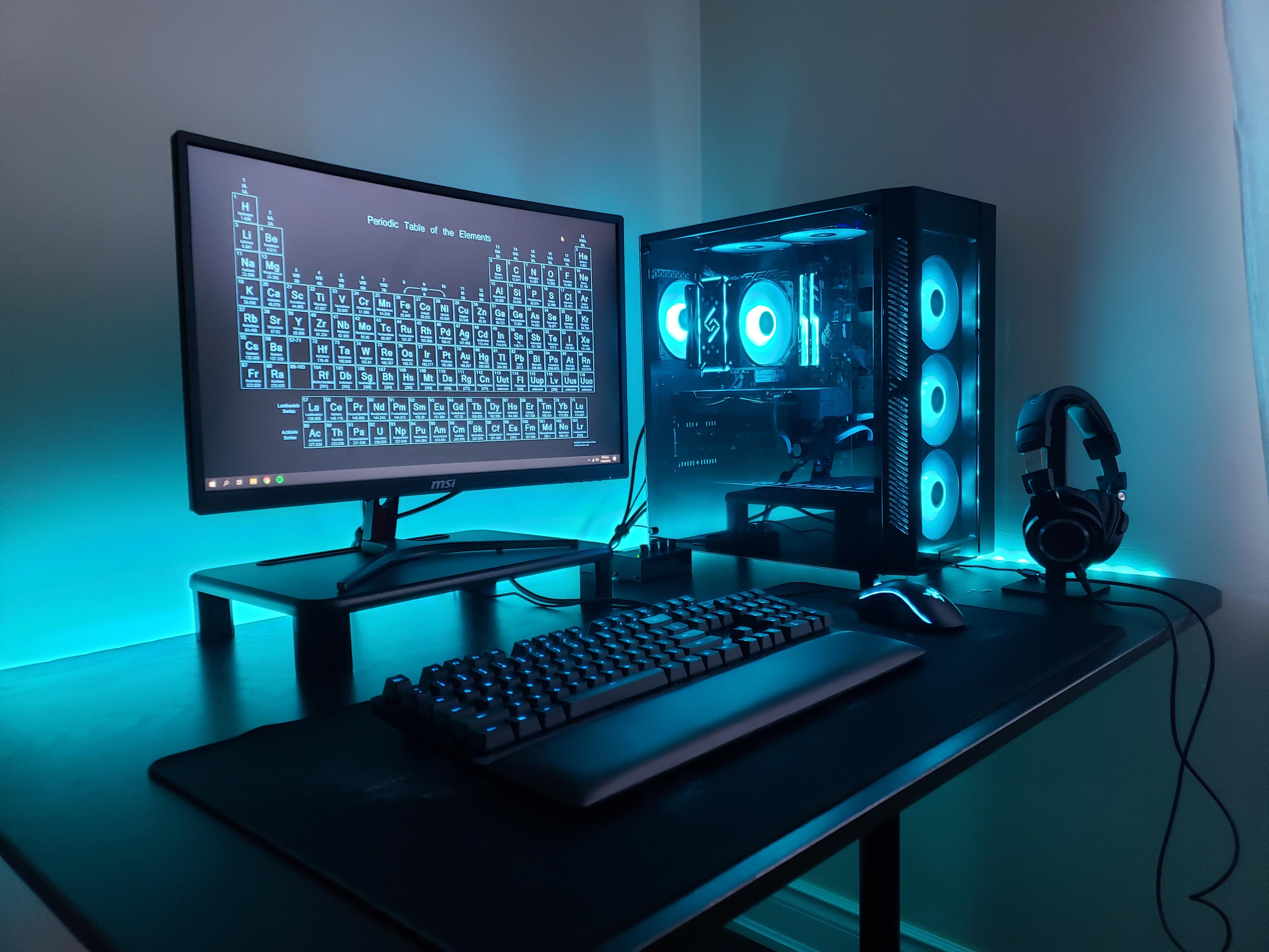 Budget Blue Computer setup, Gaming computer desk, Pc