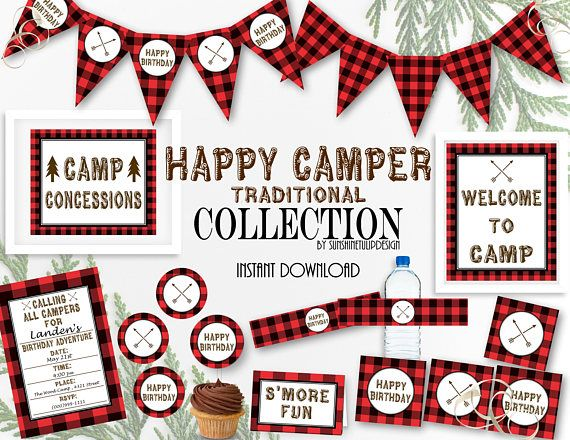 Printable Buffalo Check Campout Party Collection, Printable Buffalo Plaid Birthday Decorations, Backyard Campout by SUNSHINETULIPDESIGN