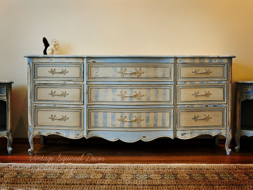 Vintage French Provincial Dresser Painted In Annie Sloan Chalk Paint Louise  Blue And Old Ochre With