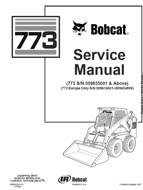 763 bobcat hydraulic schematic bobcat 773 skid steer loader service manual skid steer loader  bobcat 773 skid steer loader service