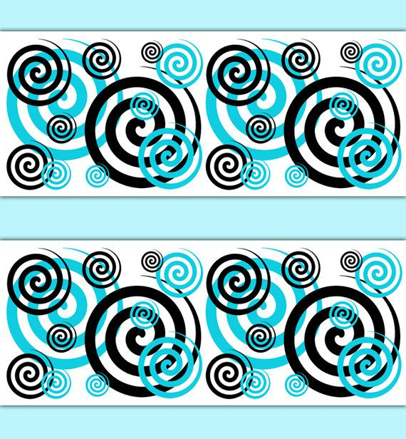 TURQUOISE BLUE SPIRAL Wallpaper Border Wall Art Decals Teal Girls Bedroom  Decor Childrens Swirls Room Kids. TURQUOISE BLUE SPIRAL Wallpaper Border Wall Art Decals Teal Girls
