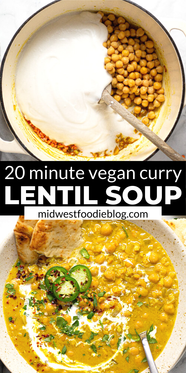 This vegan curry lentil soup is loaded with your favorite pantry staples including classic curry spices, garbanzo beans, coconut milk and split red lentils. It has all the feels of comfort food so your family will never guess it's completely loaded with healthy, wholesome ingredients!