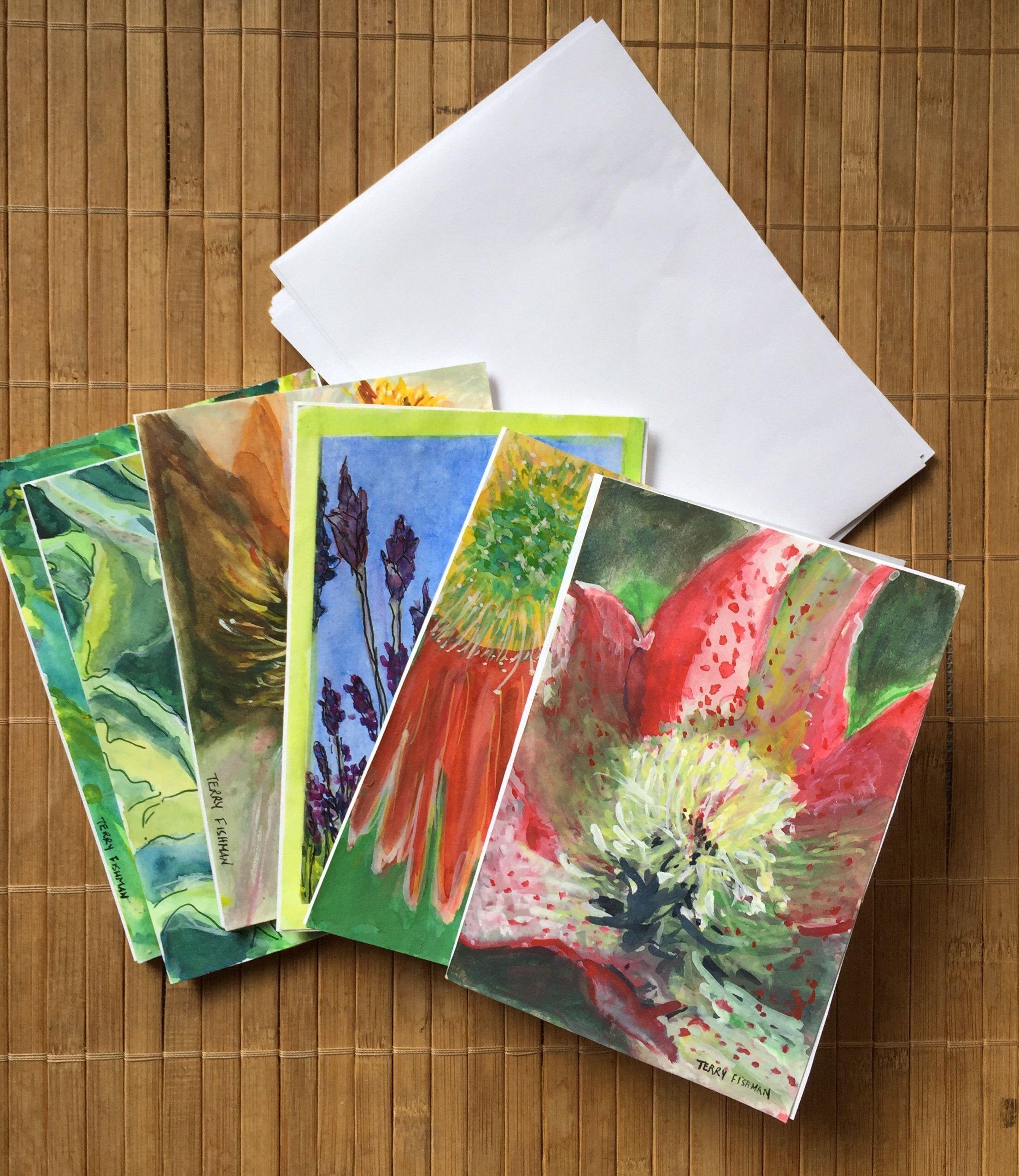 6 Flower Series Index Card Greeting Cards | Artbyterrystudio