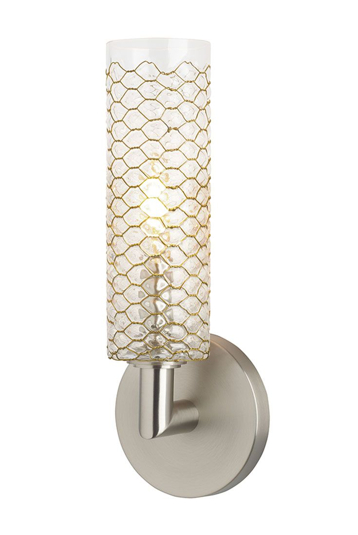 Lania Wall Sconce By Lbl Features Brass Wire Crafted Into A Honeycomb Pattern That Is Pressed In A Custom Sconces Wall Sconces Bathroom Light Fixtures Ceiling