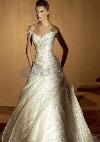 A-Line Sweetheart Cathedral Train Satin Bridal Dresses