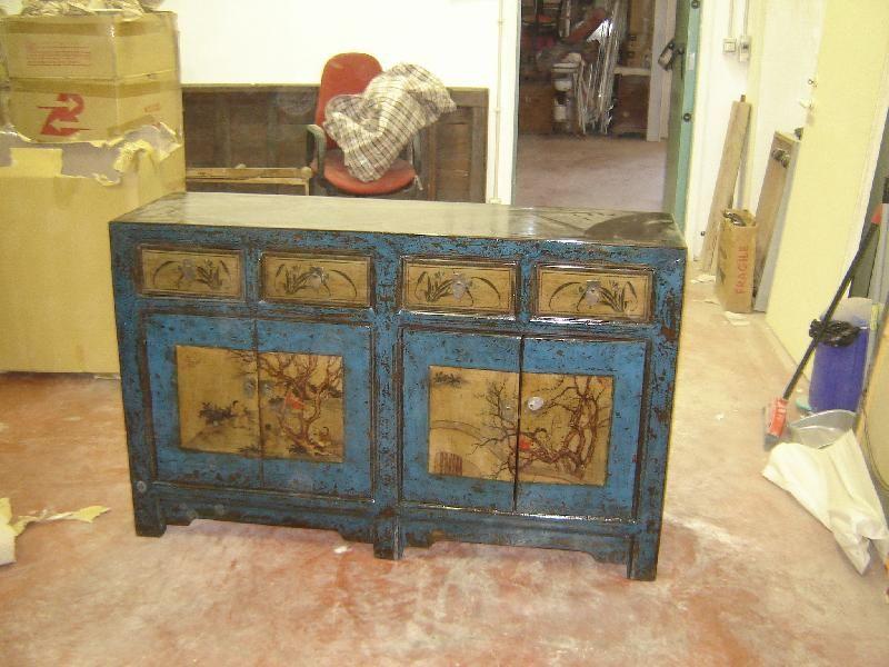 Credenza Da Cucina In Spagnolo : Antica credenza cinese in pregiata lacca blu mongolia interna