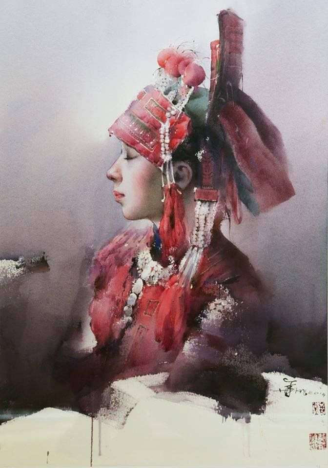 Artist Rick Huang Chinese Painter Portrait Watercolor