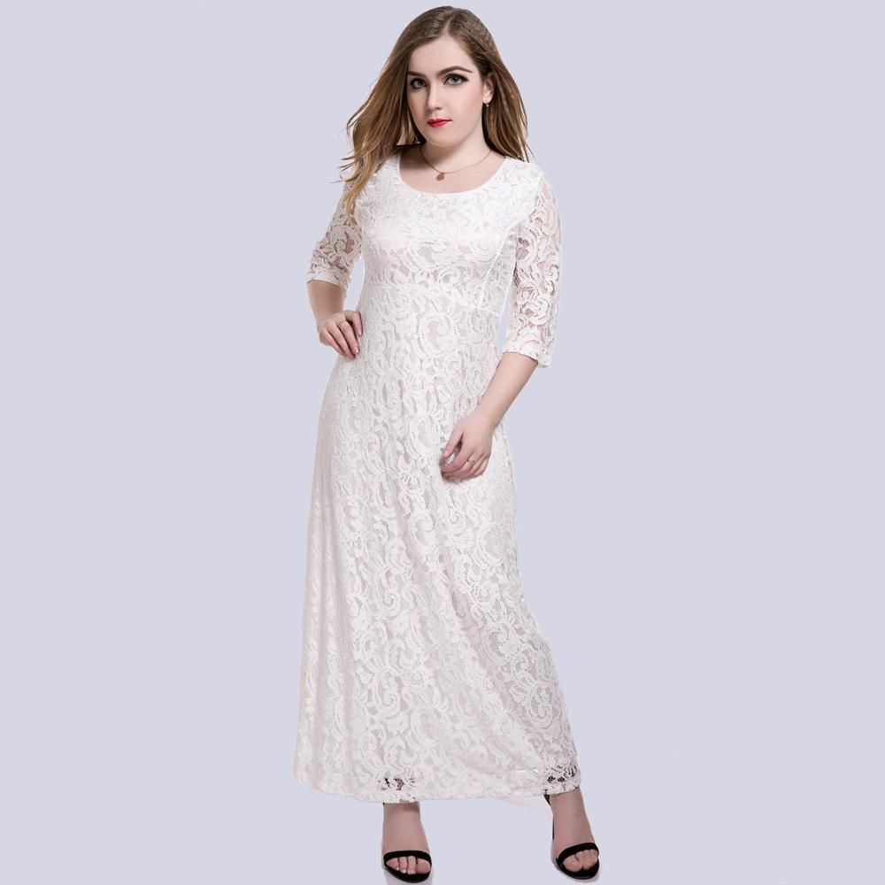 Xl plus size women lace maxi dress white xl big size clothes