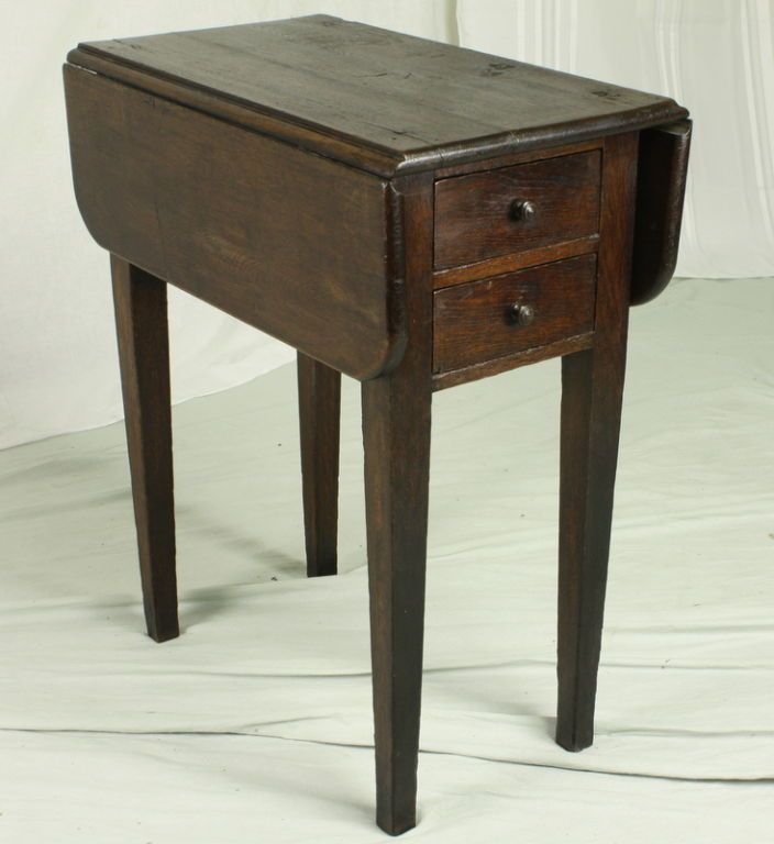 Antique small drop leaf table with drawer coffee Dining table with drawer