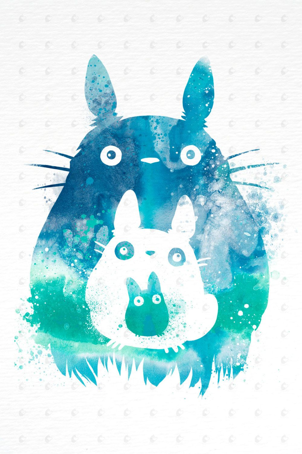 Studio Ghibli My Neighbor Totoro Watercolor Art Poster