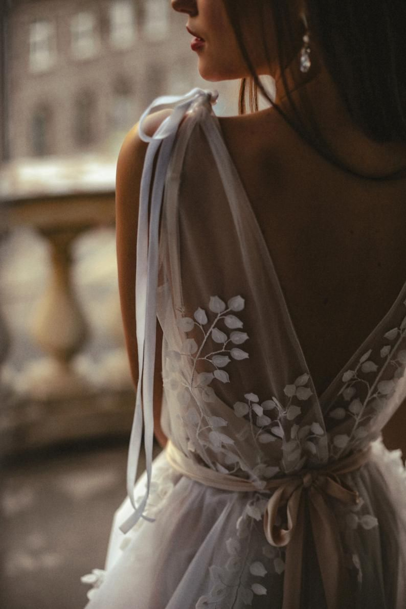 Bridal dress Wedding dress Open back wedding dress White dress Dress for bride Dress for wedding Leaves wedding dress Boho bridal dress – My Style Pinboard