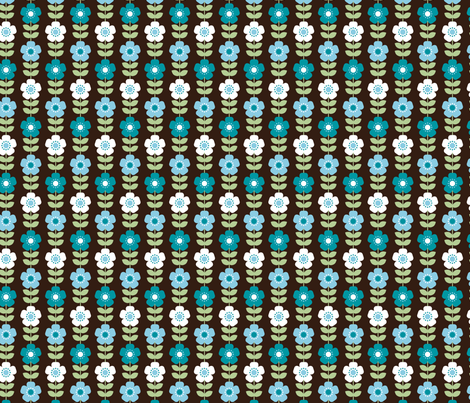 Retro Floral fabric by patternedpeacock on Spoonflower - custom fabric