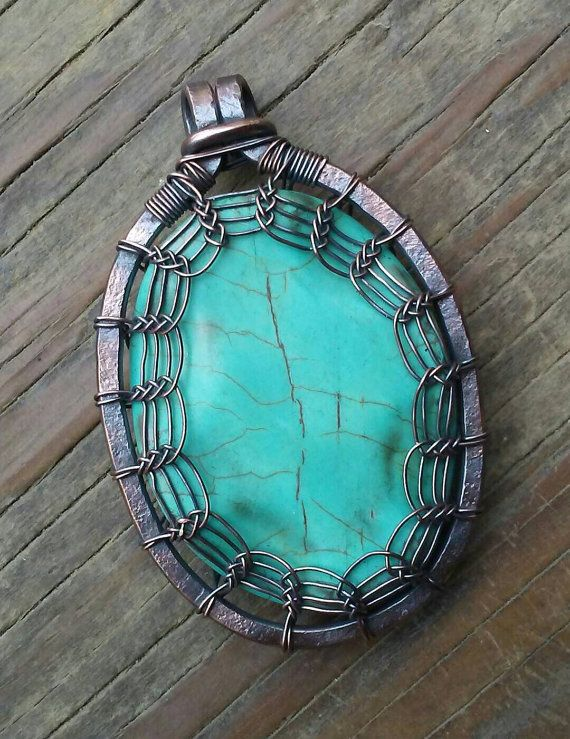 Turquoise and Oxidized Copper Wire Wrapped Pendant, Viking Weave ...