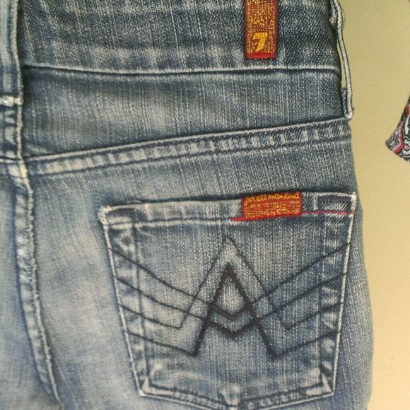 7 For All Mankind jeans size 25 7 for All Mankind jeans are in great shape and have wonderful distressed areas at the hem and in the back. This listing is for the jeans only. 7 For All Mankind Jeans Boot Cut