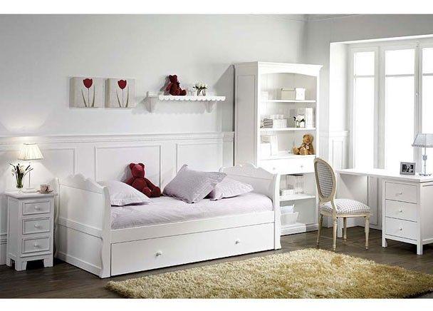 Juvenil lacado blanco con cama nido y mesa camas - Habitaciones blancas juveniles ...