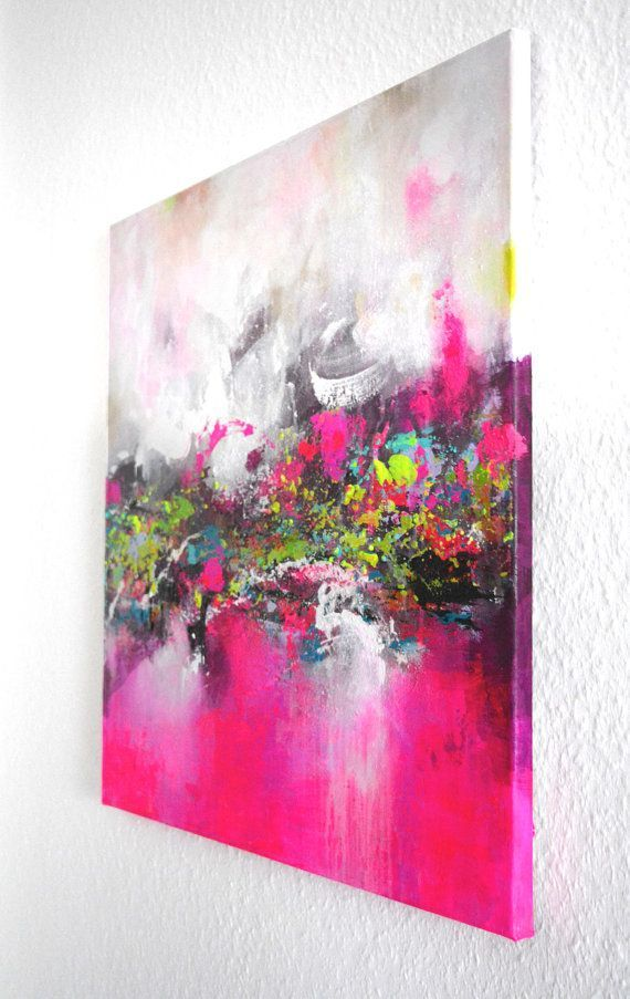 """Abstract acrylic painting, original square abstract art on stretched textured canvas, 23"""" x 2... Abstract acrylic painting, original square abstract art on stretched textured canvas, 23"""" x 23"""" modern wall art paintings, ready to hang ,"""