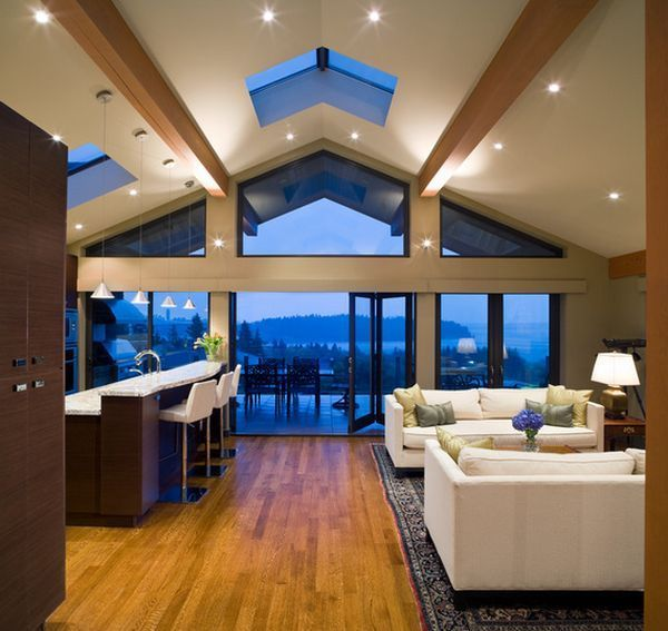 Modern House Featuring A Vaulted Ceiling Vaulted Ceiling Living Room Vaulted Living Rooms Vaulted Ceiling Lighting