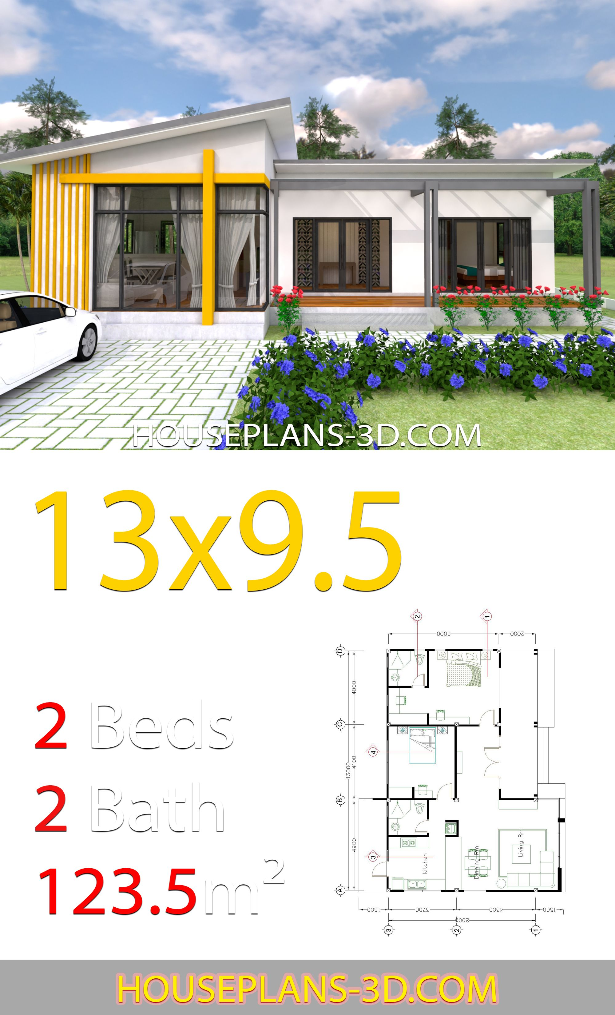 House Design 13x9 5 With 2 Bedrooms Slop Roof House Plans 3d House Plans Bungalow House Design House Design