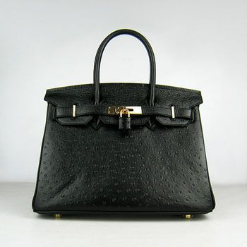 8c197a70d90e Hermes Birkin 30cm Ostrich vein Handbags black golden
