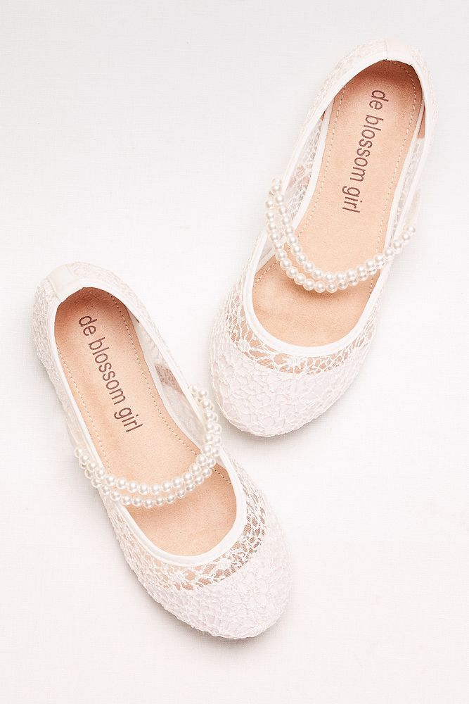 Girls Lace Mary Janes with Pearl Strap