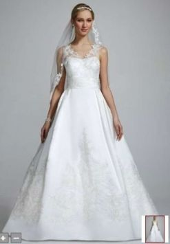 Oleg Cassini Satin A Line Gown With Illusion Straps Wedding Dress $360 (looking around Tradesy for inspiration!)