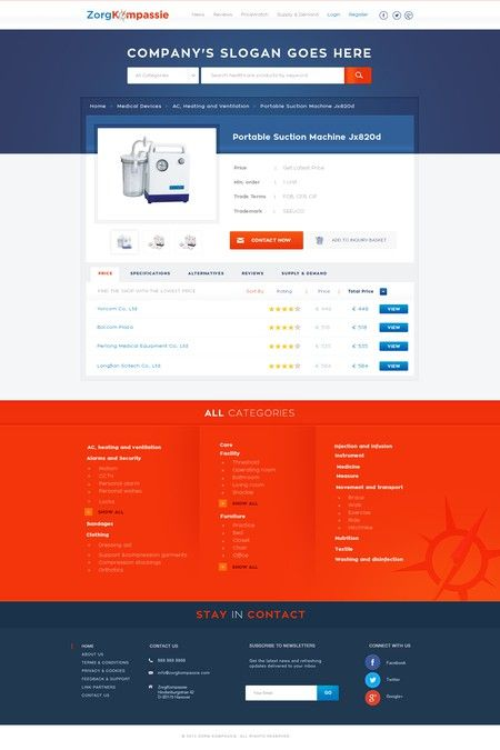 Webdesign for comparisson site of medical products by Mithum