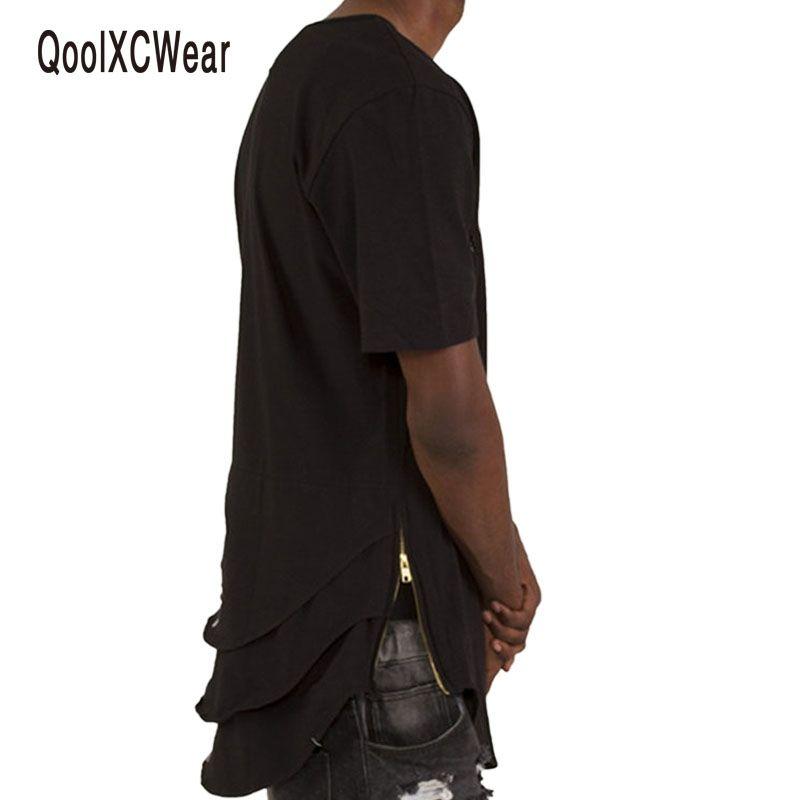 QoolXCWear THE TRIPLE LAYER T-SHIRT summer style t shirt men tee shirt  homme hip