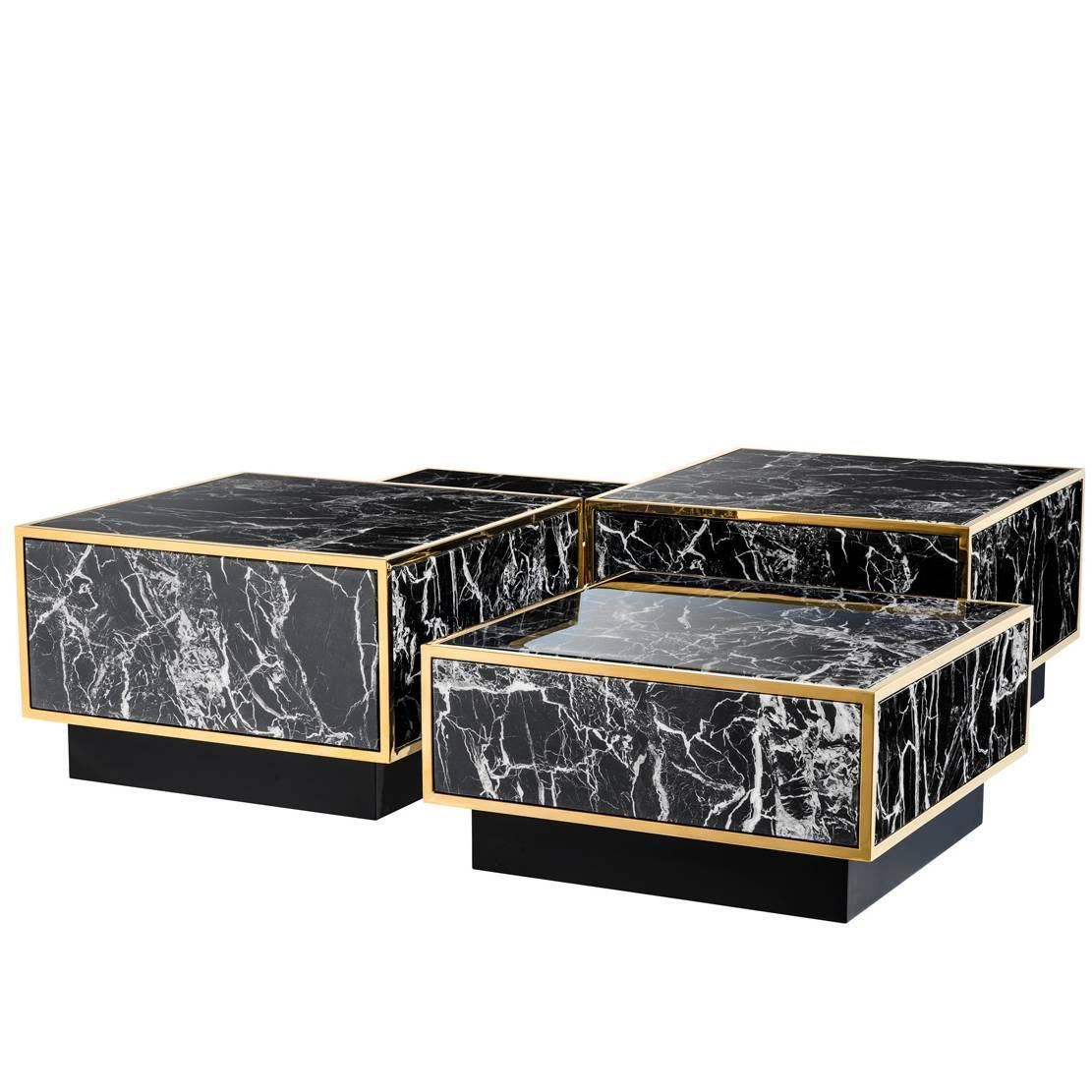 Coffee table floors set of four square tables gold