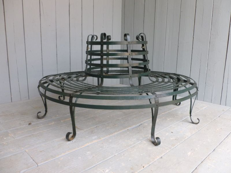 Large Antique Wrought Iron Round Garden Tree Seat Tree Seat