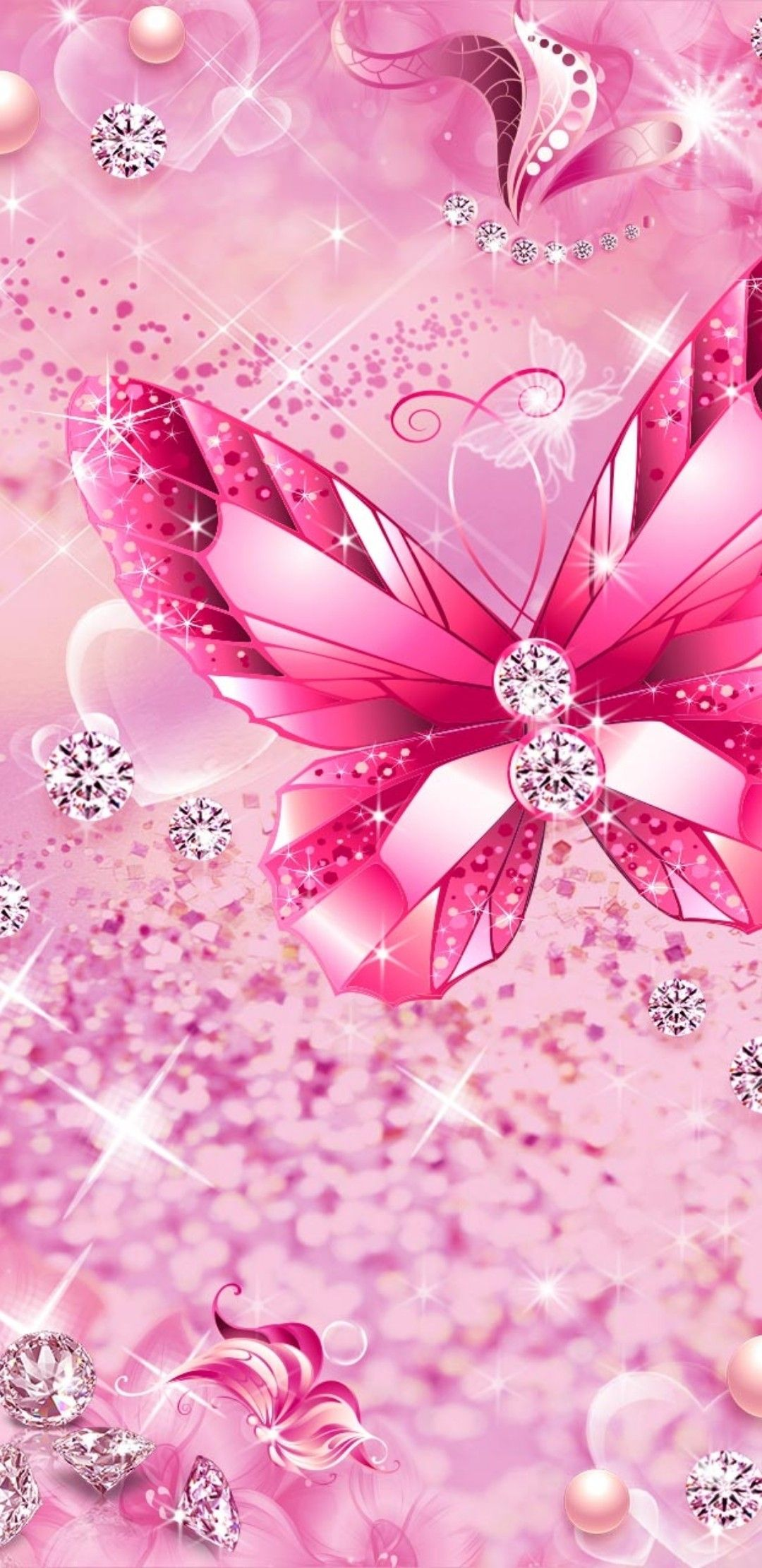 Pink Butterfly phone wallpaper Bling wallpaper, Pink