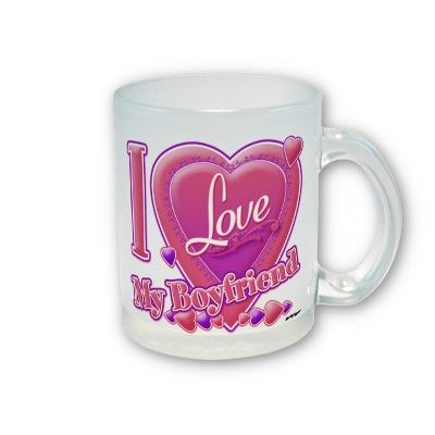 I Love My Boyfriend pink/purple - hearts Coffee Mug by ZuzusFunHouse.