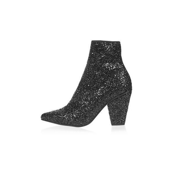 Topshop High Sequin Stretch Ankle Boots ($98) ❤ liked on Polyvore featuring shoes, boots, ankle booties, black, strappy ankle boots, short boots, high heel boots, short black boots and high heel booties