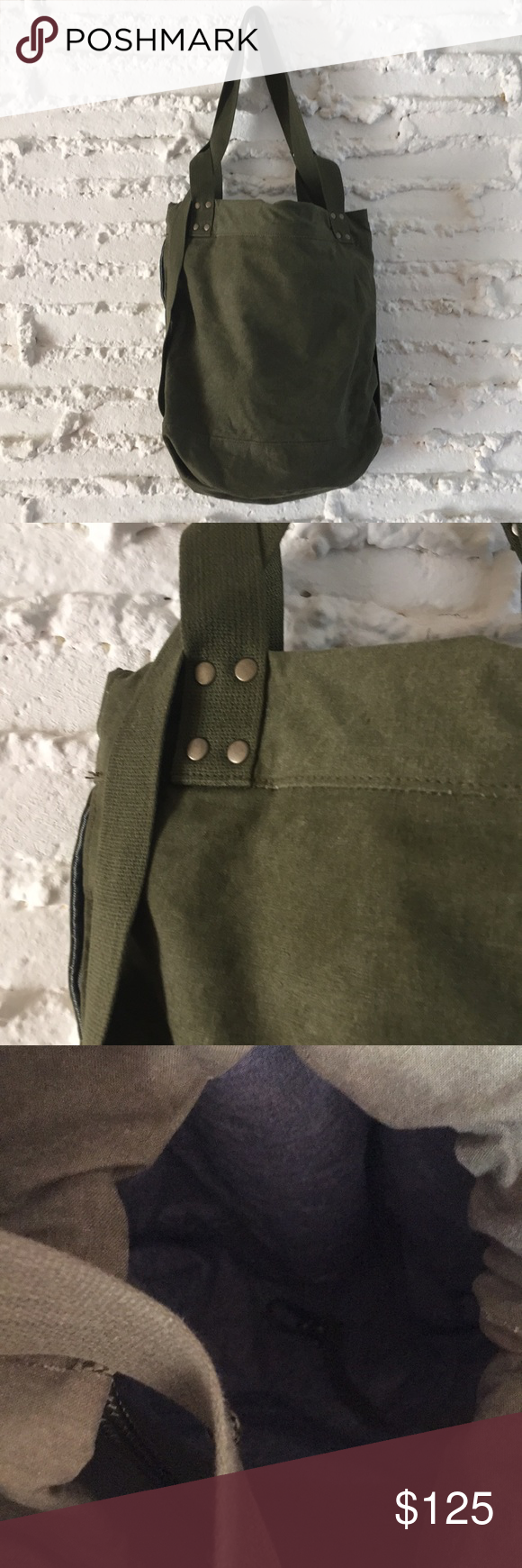 Khepri recycled army canvas convertible tote bag in my posh
