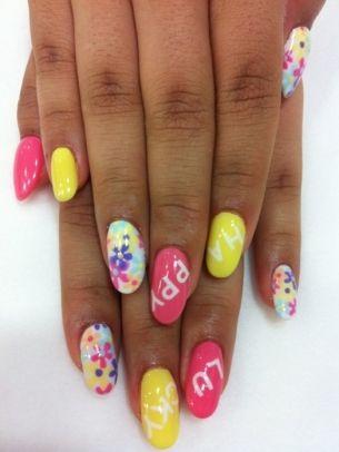 happy/lucky bright nail art  summer acrylic nails pastel