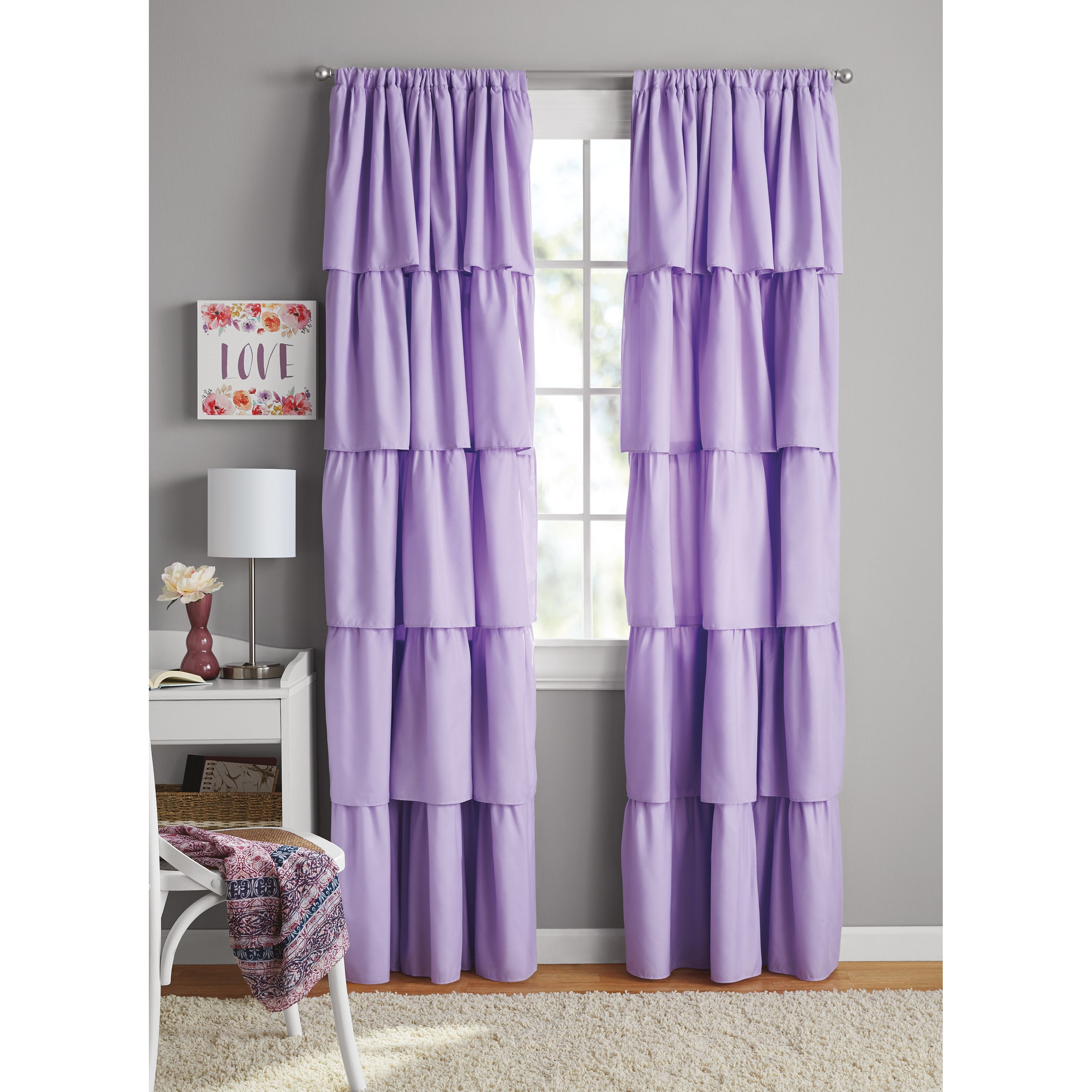 Your Zone Ruffle Girls Bedroom Single Curtain Panel Walmart Com In 2020 Girls Bedroom Curtains Curtains Bedroom Girls Bedroom