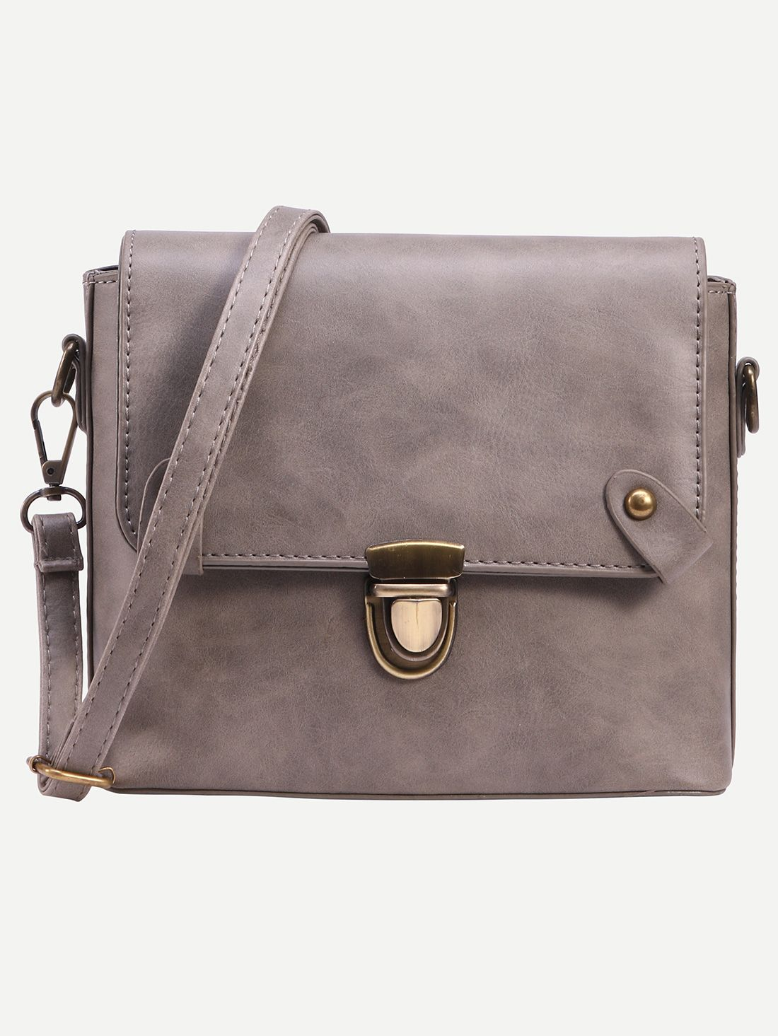 Shop Grey Faux Leather Pushlock Crossbody Bag online. SheIn offers Grey Faux Leather Pushlock Crossbody Bag & more to fit your fashionable needs.