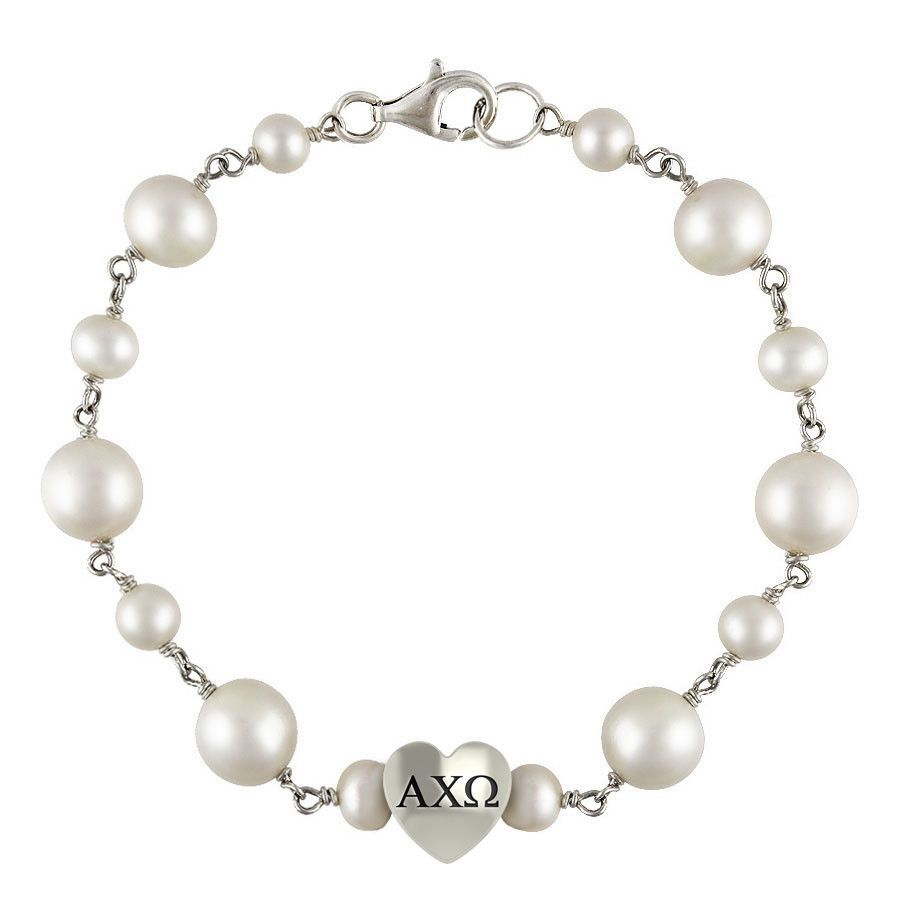 Alpha chi omega tin cup pearl bracelet with heart bead pearl