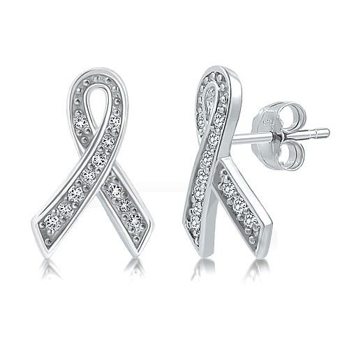 Sterling Silver Cubic Zirconia CZ Ribbon Stud Earrings from Berricle - Price: $24.99