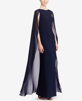 The sweeping column silhouette of this Lauren Ralph Lauren gown is accented  by a sheer georgette cape c8eab5a0b