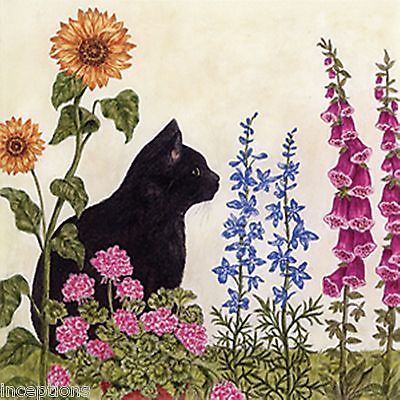 Alice's Cottage Cotton Flour Sack Kitchen Tea Towel Black Cat Garden - NEW