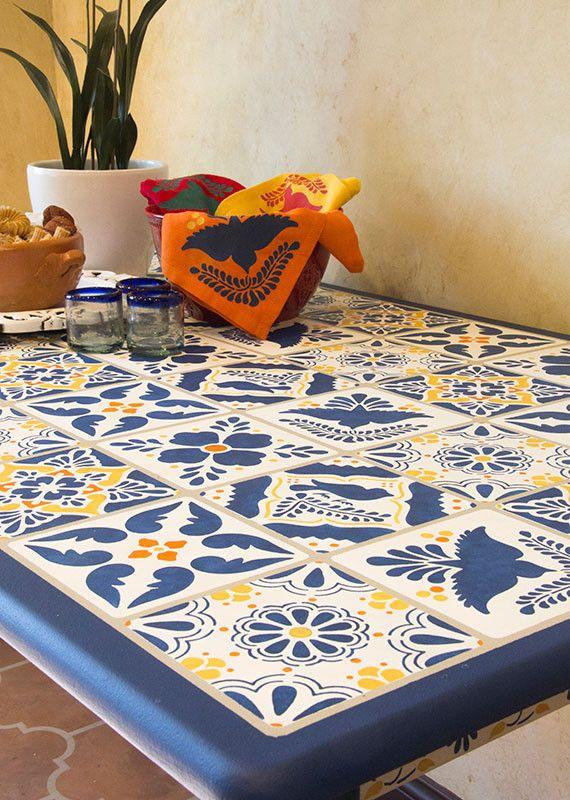 How To Stencil A Talavera Tile Pattern On A Table | Talavera Tile Stencils  | Royal