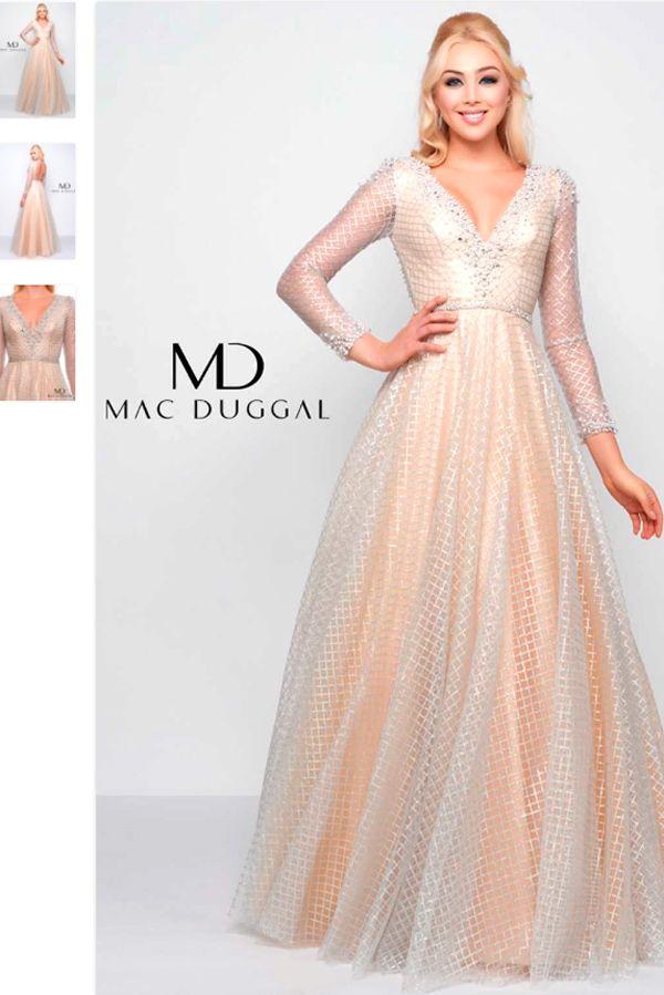 59ca7876224 Mac Duggal 77497M Prom Dress Бальное Платье с Длинным Рукавом в 2019 ...