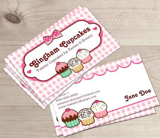 Gingham Cupcakes Business Cards Business Cards Bakery Business - Cute business cards templates free