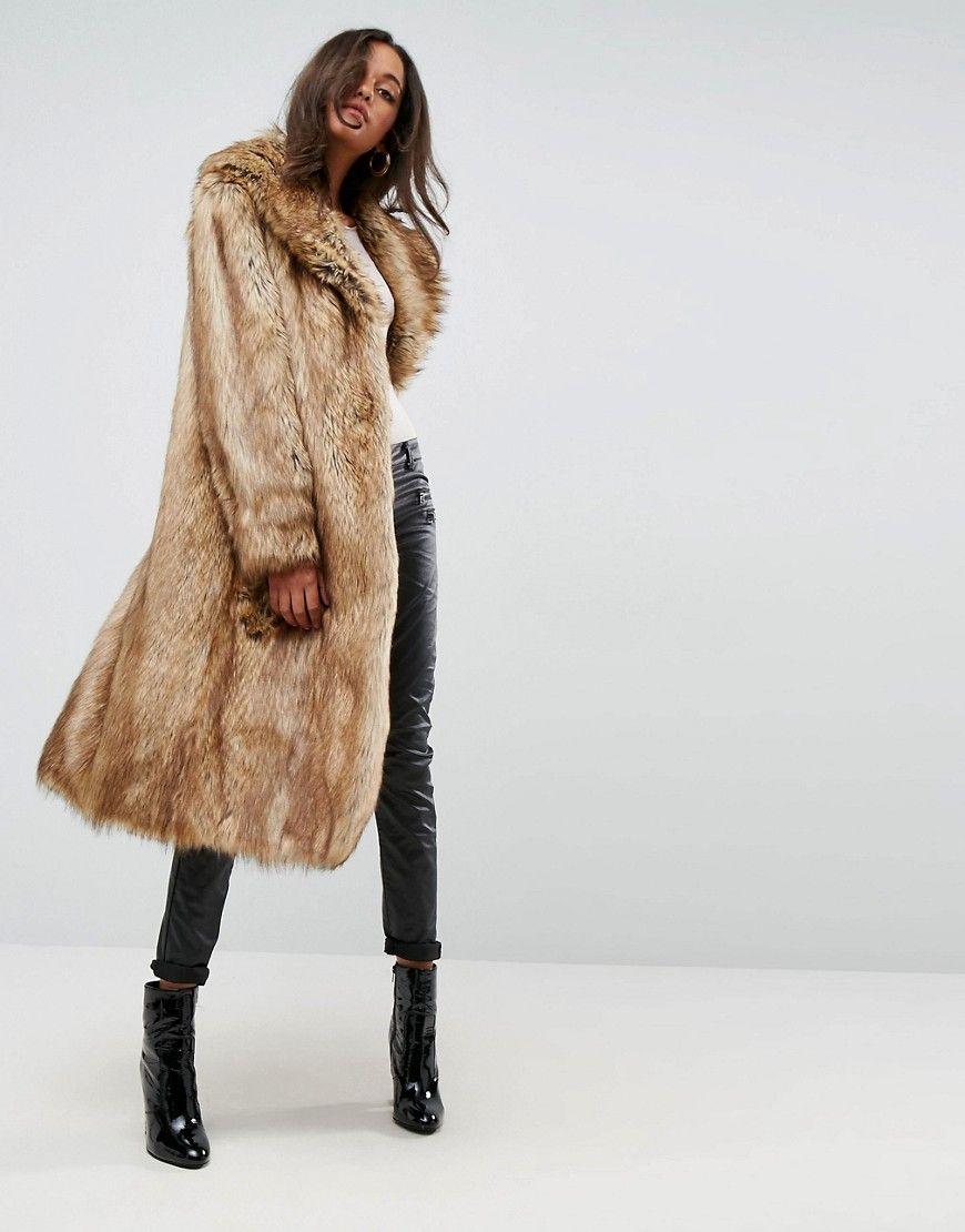 e4a254099dc454 ASOS Luxe Maxi Coat in Faux Fur - Brown