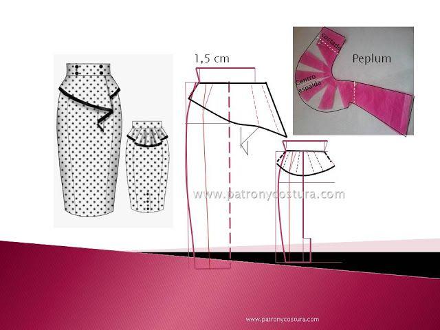 Falda peplum. Tema 204 (PATRÓN Y COSTURA) | patron | Pinterest ...