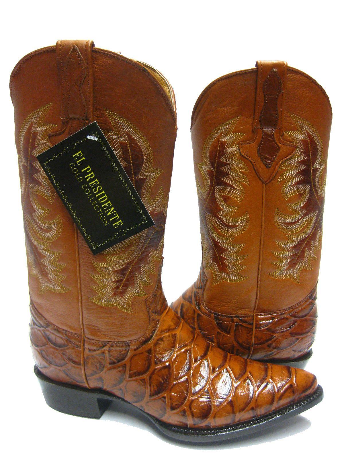 fbb83ada859 Men's cognac brown leather anaconda snake cowboy boots western ...