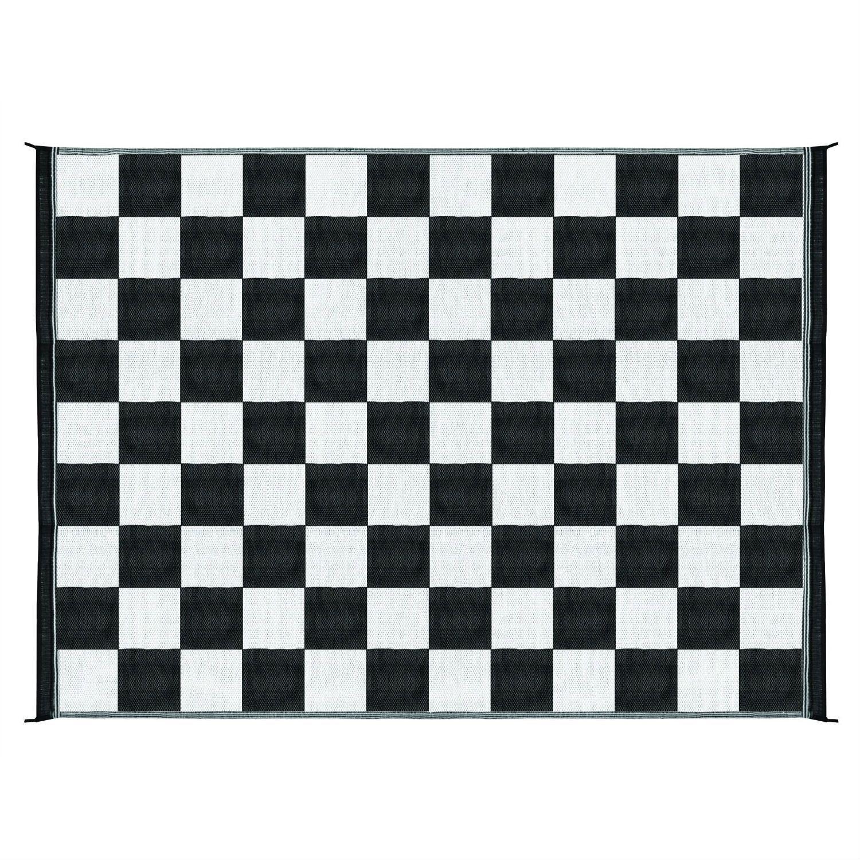 9 X 12 Reversible Outdoor Rug Mat In Black White Checkered Pattern Outdoor Mat Outdoor Rugs Checkered Pattern